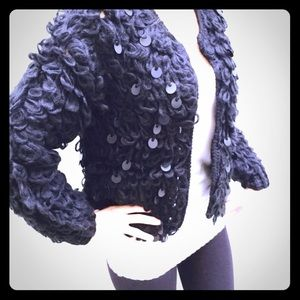 - Black crochet soft sequined warm jacket/ c…
